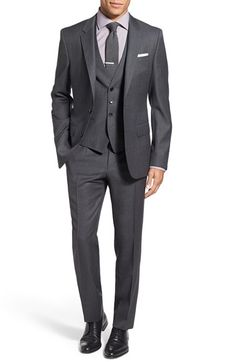 Free shipping and returns on BOSS 'Huge/Genius' Trim Fit Three Piece Solid Wool Suit at Nordstrom.com. Finely textured Italian virgin wool enriches a classic three-piece suit featuring flat-front trousers, a two-button jacket and a smart vest.