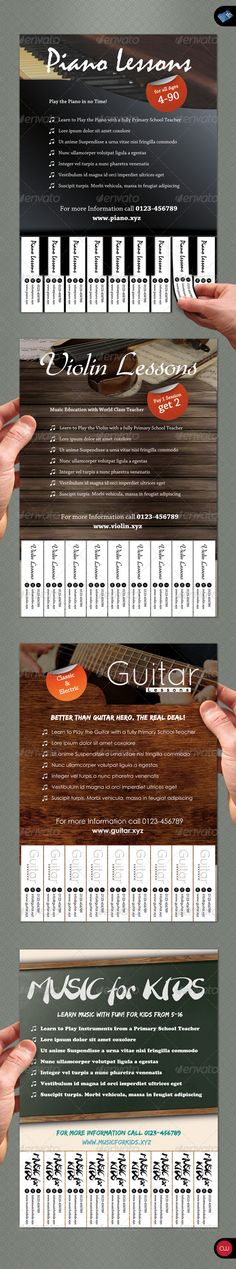 Tear-Off Flyer - Vol.1 - Music  #GraphicRiver          Tear-Off Flyer Vol.1 – Music is the best way to promote your own little service or business. Just edit it to your needs, print it out and stand out from all that other Tear-Off Flyer crowd you usually see. Enjoy! FEATURES   4 .psd files included   Edit just one text to change all tear-off tabs  300dpi  CMYK  Print Ready   DIMENSION A5 (ISO/DIN)   148mm x 210mm  3mm bleed   FONT USED   Edo SZ (download link provided)  Branching Mouse…
