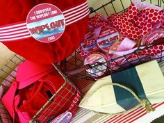 """Wipeout Party - I especially like the red crepe paper ball decorations and the """"I survived the Wipeout Zone"""" buttons/medals.  -tkz"""