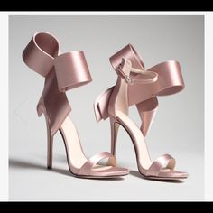 Pink Satin Cute Bow Heels Open Toe Ankle Strap Sandals for Party, Ball, Wedding, Going out Bow Heels, Lace Up Heels, Stiletto Heels, Stilettos, Shoes Heels, Heels Outfits, Pumps, Flats, Purple Heels