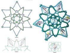 схема плетения снежинок из бисера и кристаллов