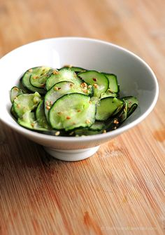 Wasabi Cucumber Sesame Salad. This is super yummy! I would make it again to compliment sushi or as a side dish with Japanese food.
