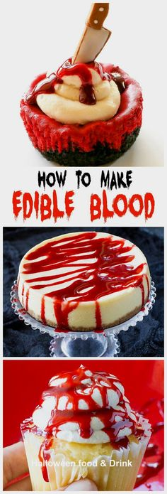 How to Make Edible Fake Blood How to Make Edible Blood drizzle it on cupcakes cakes donutsyou name it! the-girl-who-ate- The post How to Make Edible Fake Blood appeared first on Halloween Food. Buffet Halloween, Halloween Torte, Pasteles Halloween, Halloween Baking, Halloween Dinner, Halloween Goodies, Halloween Food For Party, Halloween Halloween, Halloween Dessert Recipes