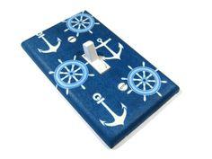 Sea Blue Nautical Nursery Decor Light Switch Cover Boat Anchor Navy Sailor Decoration Boys Bedroom