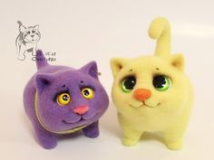 Como hacer un gato de lana de fieltro (1)