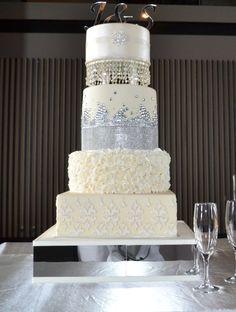 Rhinestone and crystal wedding cake created by Villa Chateau
