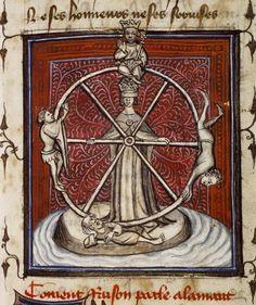 La Fortuna, con los ojos vendados, da vueltas a su rueda. Guillaume de Lorris y Jean de Meung, Le Roman de la Rose (Francia, fin. siglo XIV) Bodleian Library