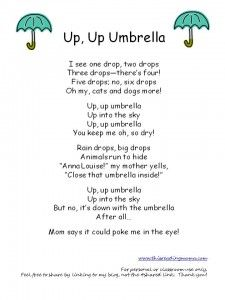 Up, Up Umbrella Poem (perfect for Spring!)