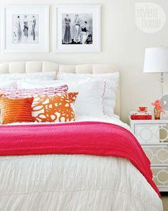 Fuchsia, orange and white bedroom decor