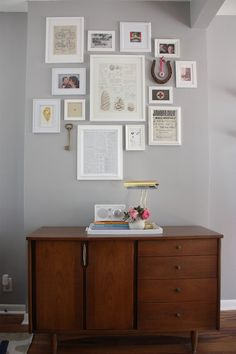 Lovely gallery in white -- seen on AptTherapy - Sarah & Brian's Salvaged Stories