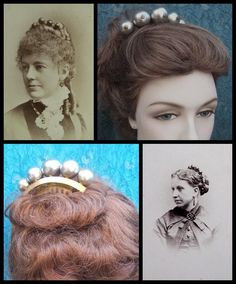 Victorian Big Pearl Balls Hair Comb Hinged Peigne Josephine Hair from…
