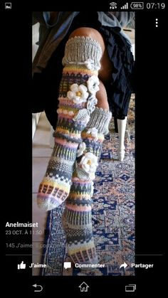 Vues sur le site Anelmaiset. Je suis fan Crochet Socks, Knitting Socks, Knit Crochet, Super Chunky Wool, Thick Socks, Thigh High Socks, Yarn Crafts, Fingerless Gloves, Bunt