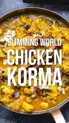 Chicken Korma Are you looking for an easy Chicken Curry recipe? This simple Chicken Korma is mild enough for the whole family to enjoy! A delicious SYN FREE Slimming World Chicken Curry that will quickly become a fakeway favourite. Slimming World Chicken Korma, Slimming World Curry, Slimming World Dinners, Slimming World Chicken Recipes, Slimming Eats, Slimming Recipes, Slimming World Fakeaway, Slimming World Lunch Ideas, Slimming World Free Foods