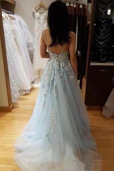 Light Blue Spaghetti Straps V Neck Tule Backless Prom Dress with Beading OKZ58 Best Prom Dresses, Backless Prom Dresses, Prom Dresses Blue, Formal Dresses, Wedding Dresses, Homecoming Dresses, Marie, Lace Dress, Ball Gowns