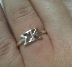 I want this for graduation!  $28.00 Sigma Kappa Sterling Silver Letter Ring #sigmakappa