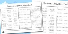 This worksheet focuses on addition with decimals! Great for leading up to work with coins and money, it features some real life scenarios where money is involved for them to work out. Addition Worksheets, Addition And Subtraction, Real Life, Learning, Studying, Teaching, Addition And Subtraction Practice, Onderwijs