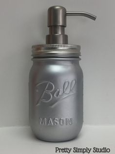 Silver Metallic Mason Jar Soap Dispenser by PrettySimplyStudio