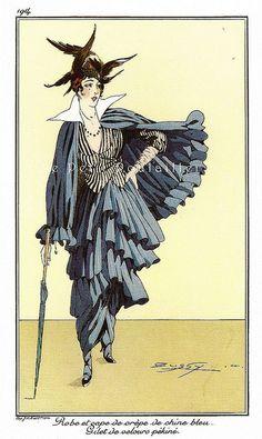 PetitPoulailler Vintage Fashion Lithograph From Journal des Dames et des Modes, Bussy [Buzzy], Pl 175