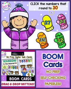 BOOM CARDS Rounding to the Nearest Ten. The fun mitten winter theme is ideal for practice and includes over 80 rounding problems. Drag & Drop the mittens into the correct baskets or round to the nearest 10 to finds the correct pair of mittens. #Rounding #BoomCards #BoomLearning #digital #TeacherFeatures #RoundingtotheNearestTen #MathCenters
