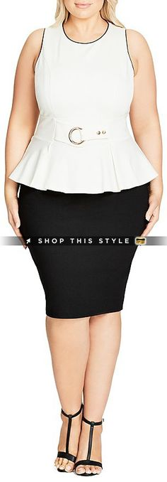 A gleaming gold-tone belt detail and flirty peplum hem style this must-have from City Chic, putting a modern spin on the classic LBD. Fits true to size, order your normal size; Round neck, sleeveless, paneled bodice; Built-in snap belt, pencil skirt; Concealed back zip closure, lined; Approx. 41' from back of neck to hem, based on a size XS/14W; Please use the following size conversions when ordering this item: XS=14W; S=16W; M=18W; L=20-22W; XL=22-24W; XXL=24W-26W; Viscose/polyester/e..