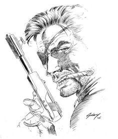 Nick Fury drawing by Paul Gulacy - Marvel Comics