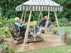 I think this was great. An outdoor swing that is fit for a wheel chair. This is great for elderly who enjoy sitting outside and enjoying the outdoors.