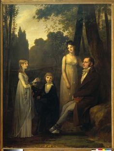 Rutger Jan Schimmelpenninck (1761-1825). Gezant van de Bataafse Republiek te Parijs, met zijn vrouw Catharina Nahuys (1770-1844) en zijn kinderen Catharina en Gerrit