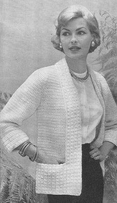 1950's Elegant Jacket Vintage Crochet Pattern PDF 314