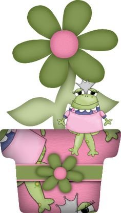 POTTED FLOWER WITH FROG