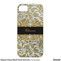 Elegant Classy Black Floral Gold white iPhone 5/5S Cases