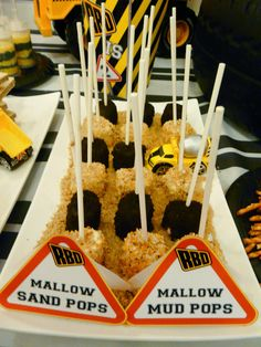 Mud & Sand marshmallow pops! Reece's 2nd Birthday Digger Party Dessert Table by www.sweetestpear.co.uk in Doha, Qatar.
