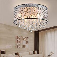 Moda moderna Pantalla de Tela Llevó La Lámpara de Techo Sala de estar Dormitorio Lámpara de Cristal K9 lámpara de Techo de Control Remoto(China (Mainland))