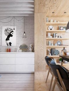 cuisine scandinave, grande étagère en bois, mur en briques blanches et coin de déjeuner