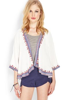 Open-Front Embroidered Cardigan | FOREVER21 - 2000088329
