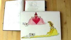 Uit Pien & de prinsen: de eerste schetsen van deel twee. Illustratie uit kinderboek PIEN, Myrthe v/d Meer (voorjaar 2016)