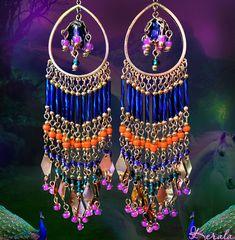 Long Colorful Beaded Chandelier Earrings Silver Gold or от kerala