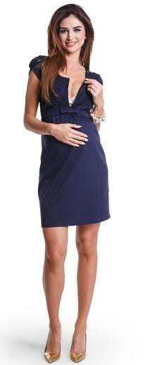 Magic navy нарядное платье для будущих и кормящих мам с кружевной вставкой