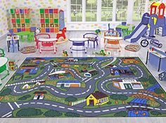 Blue Area Rugs Jenny Collection Children Rug Grey Base Mith Multi Colors Kids Rug Children us Educational Road Traffic Machine
