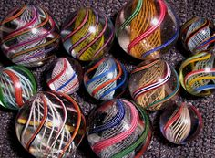 vintage 1850's - 1900's German Glass Marbles - These are Latticinio Swirls - most common handmade marbles