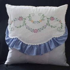 Cute 16 throw pillow made with a dresser scarf. Pillow form not included. Cute Pillows, Baby Pillows, Throw Pillows, Home Decor Colors, Colorful Decor, Vintage Embroidery, Vintage Crochet, Cubicle Makeover, Vintage Textiles