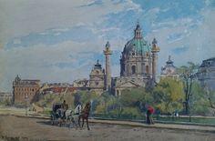 "Ernst GRANER (1865-1943)· ""Karlskirche, Wien"" · Aquarell auf Papier House Plans, Walls, Painting, Watercolor, Wall Art, Architecture, Blueprints For Homes, Arquitetura, Watercolour"
