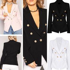 Office Women Long Sleeve One Button Slim Casual Outwear Suit Jacket Blazer Coat