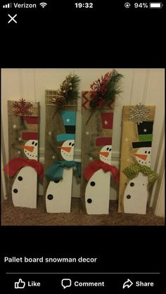 Fun and Easy DIY Christmas Decorations on a Budget – Wooden Pallets - Ka. - Fun and Easy DIY Christmas Decorations on a Budget – Wooden Pallets Snowmen collection - Wooden Christmas Crafts, Snowman Christmas Decorations, Pallet Christmas, Christmas Art, Christmas Projects, Simple Christmas, Holiday Crafts, Christmas Paintings, Cheap Holiday