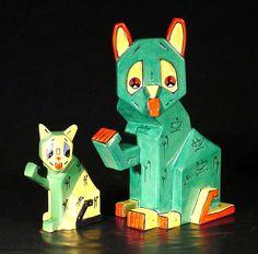Louis Wain cat and kitten Crazy Cat Lady, Crazy Cats, Louis Wain Cats, Sculpture Images, Cat Accessories, Small Cat, Vintage Artwork, Vintage Cat, Cat Life
