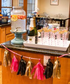 Drink station at a Kate Spade craft party! See more party planning ideas at CatchMyParty.com!