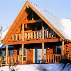 New Hampshire log home in winter
