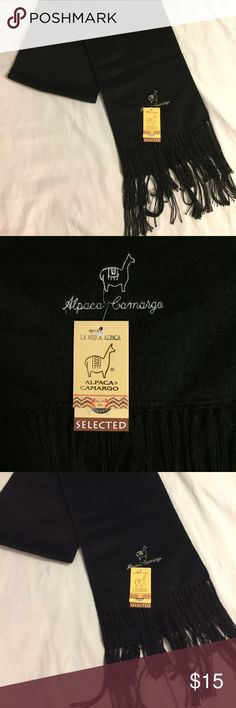 NWT Alpaca Scarf Black 9 x 72 in. New Alpaca woven black scarf measuring 9 in. x 72 in.         All products* sold by super22saver55 are pre-washed using Tide Pods, Downy Unstoppables, and Oxygen Orange for your convenience.  *Not including NWT products, products made of wool or sports wear.  *Sports wear products are washed with detergent and vinegar or baking soda. Alpaca Camargo Accessories Scarves & Wraps