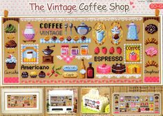 """The vintage coffee shop"" Counted cross stitch pattern Leaflet. Big Chart.SO-G49 • CAD 10.34"