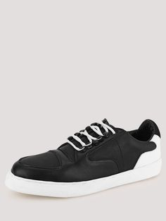 Buy Marcello & Ferri Black/White Sneakers With Contrast Laces And Sole for Men Online in India Black And White Sneakers, White Casual Shoes, Online Shopping Shoes, Shoes Online, Men Online, Slip On Shoes, Monochrome, Adidas Sneakers, Contrast