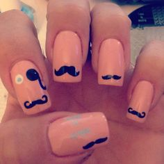 Movember mustache nails with StampAholics & mundo de uñas stamping art plates supporting prostate cancer awareness